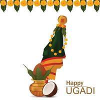festival indio de tarjeta de celebración feliz ugadi con kalash tradicional y flor de guirnalda vector