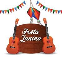 tarjetas de invitación de festa junina con guitarra y linterna de papel y fondo vector