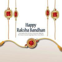 Rakhi creativo para el festival indio de raksha bandhan sobre fondo blanco. vector
