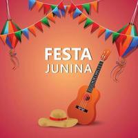 festa junina ilustración vectorial de guitarra y bandera colorida y linterna de papel vector