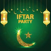 Vector illustration of iftar party with golden lantern and moon