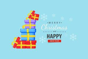 Stack of gift boxes with Christmas wishes vector