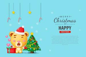 Cute bear, Merry Christmas banner design template vector