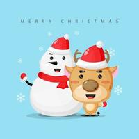 Snowman and cute reindeer wish you a Merry Christmas vector