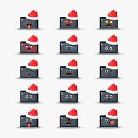 laptop wearing Christmas hat Emoticon set vector