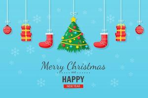 Merry Christmas and New Year card on blue background vector