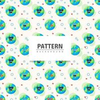 Earth with emoticon seamless pattern vector