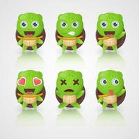 Lindos personajes de tortugas en varias expresiones. vector