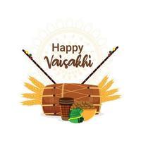 Flat design of happy vaisakhi sikh festival background with creative illustration on white background vector