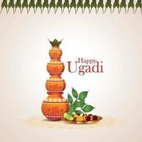 Feliz celebración del festival indio de ugadi tarjeta de felicitación con kalash tradicional vector