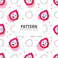 Dragon fruit seamless pattern with cute smile vector