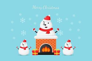 Cute snowman on the chimney wish you a Merry Christmas vector