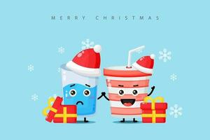 Cute water glass and soda water cup mascot wearing a Christmas hat vector