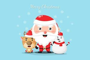 Cute Santa claus, snowman and reindeer wish you a Merry Christmas vector