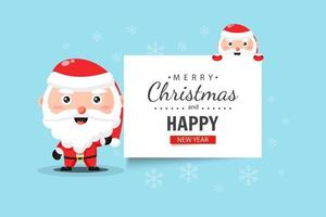 Cute Santa Claus wishes you a Merry Christmas and Happy New Year vector