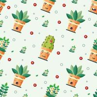 Cute seamless pattern potted plant design vector