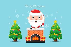 Cute Santa on the chimney wish you a Merry Christmas vector