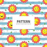 Cute smiling flower, seamless pattern design
