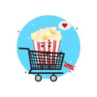 Cute popcorn mascot in shopping cart with black friday discount vector