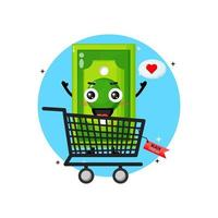 Cute money banknote mascot in shopping cart with black friday discount vector