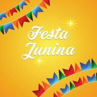 Fondo e ilustración de festa junina con bandera de fiesta colorida y fondo amarillo vector