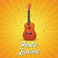 guitarra feasta junina con fondo decorativo vector