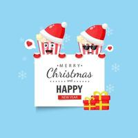 Cute popcorn with happy christmas and new year wishes vector