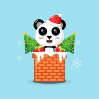 Cute panda on the chimney with a Christmas present vector