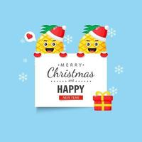 Cute pineapple with happy christmas and new year wishes vector