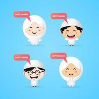 Cute Ramadan mascot kids set vector