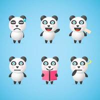 cute panda character design set vector