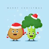 Cute potatoes and broccoli holding hands on Christmas day vector