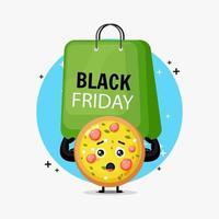 Cute pizza mascot carrying a black friday bag vector