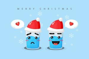 cute mineral water with sad expression and happy wearing a christmas hat vector