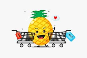 Cute pineapple mascot is shopping on black Friday vector