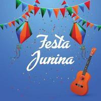 Ilustración de festa junina con bandera colorida y linterna de papel y guitarra vector