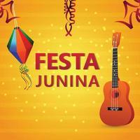 Fondo creativo de festa junina con guitarra y bandera colorida y linterna de papel vector