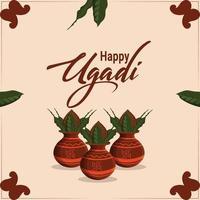 feliz festival de ugadi con ilustración creativa y fondo vector