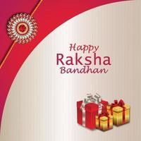 Tarjeta de felicitación de celebración de raksha bandhan feliz con regalos y rakhi de cristal vector