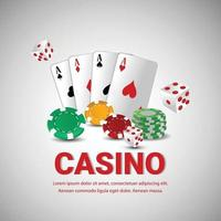 Luxury vip online casino background with realistic playing cards, casino chips vector