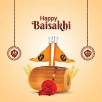 Happy vaisakhi celebration background with realistic drum and sikh flag vector