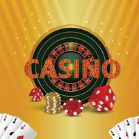 Realistic casino  roulette and poker dice and playng cards vector