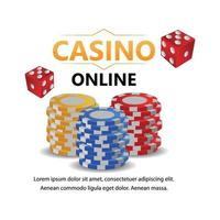Casino gambling game with casino chips and dice and background vector