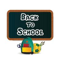 Back to school background with creative school elements with blackboard vector