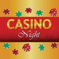 Casino night party with poker dice and chips vector