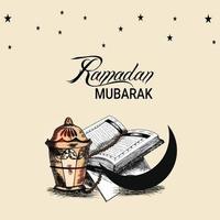 Fondo del festival islámico Ramadán Mubarak con elementos creativos para dibujar a mano vector