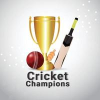 Vector illustartion of cricket championship background with golden trophy