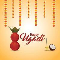 Feliz tarjeta de felicitación del festival indio de ugadi y fondo con kalash vector