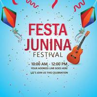 Vector illustration of festa junina background with creative guitar and colorful  paper lantern