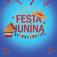 Festa junina brazil event with music instrument and hat vector